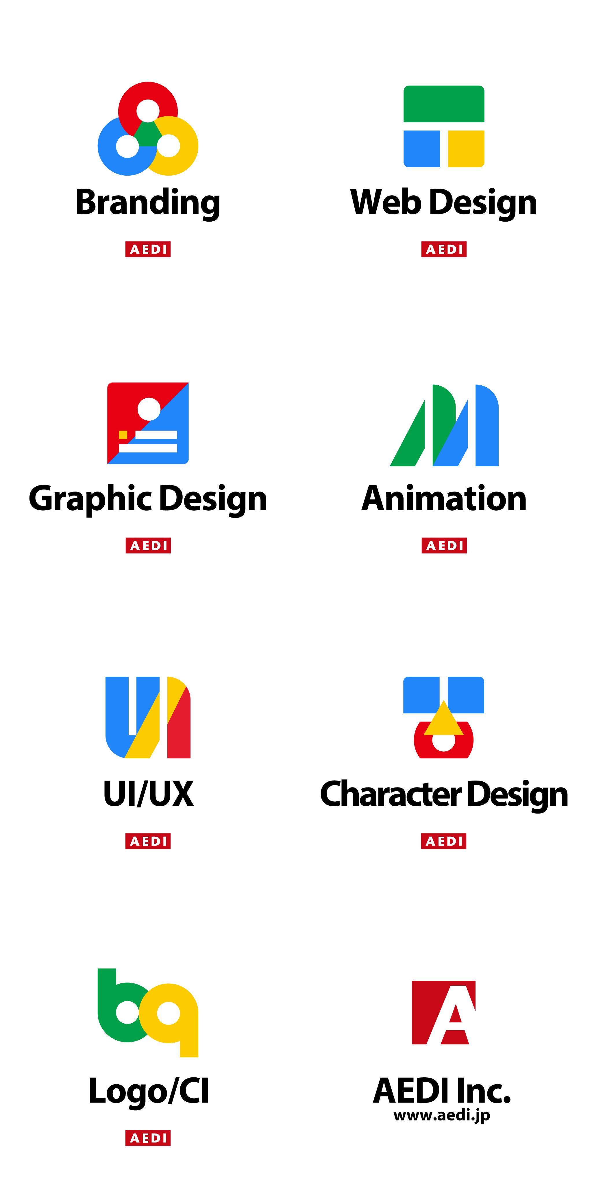 Service Icons of AEDI Inc. AEDI各サービスアイコン ブランディング